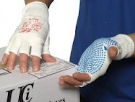 Dotted Grip Gloves Half Finger Size 7 Pr