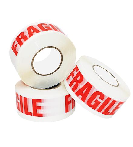 """50mm x 66m White Vinyl Tape Printed """"FRAGILE"""""""
