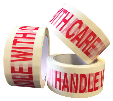 """50mm x 66m White Vinyl Tape Printed """"FRAGILE HANDLE WITH CARE"""""""