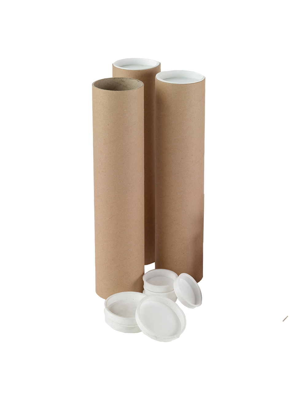 12 Pack Postal Mailing Tubes with End Caps 1.5 x 25 inch